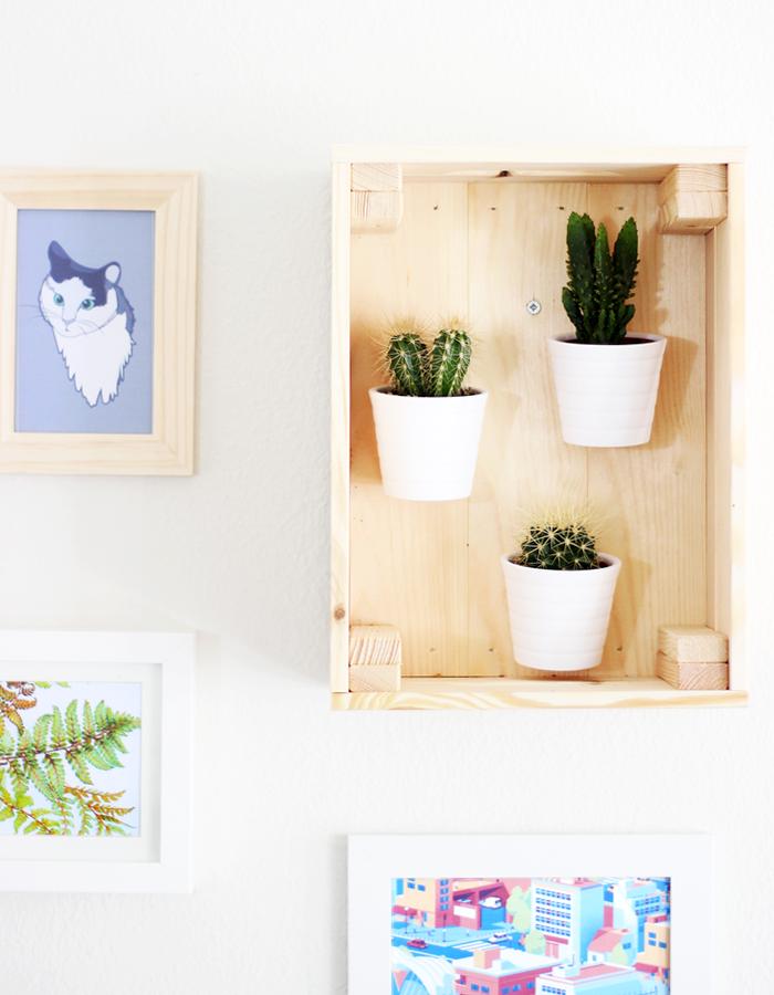 DIY cactussen en vetplanten interieur cactus vetplant tips kratje houten kratje DIY's met cactussen en vetplanten